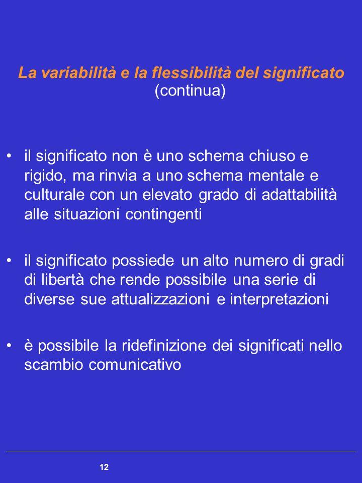 12 La variabilità e la flessibilità del significato (continua) il significato non è uno schema chiuso e rigido, ma rinvia a uno schema mentale e cultu