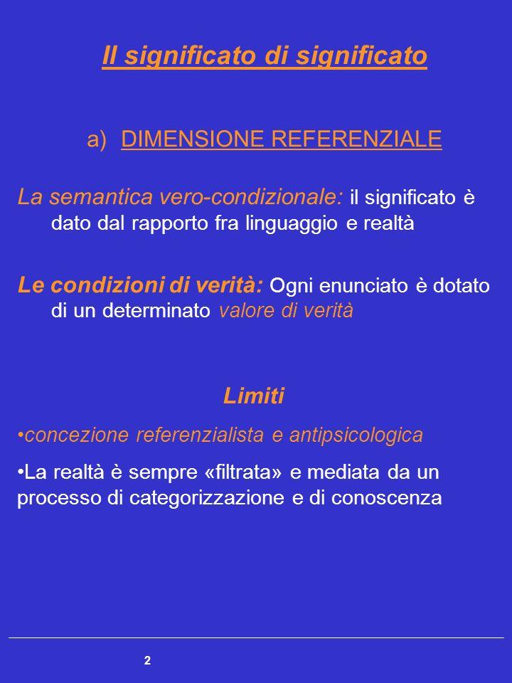 2 Il significato di significato a)DIMENSIONE REFERENZIALE La semantica vero-condizionale: il significato è dato dal rapporto fra linguaggio e realtà L