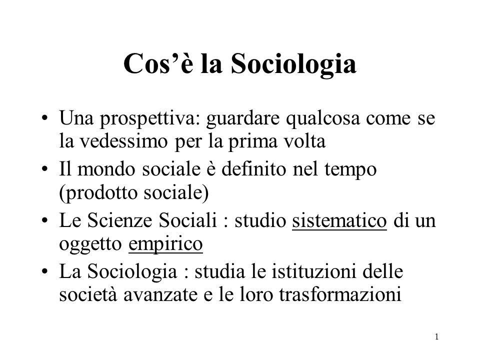 1 Cosè la Sociologia Una prospettiva: guardare qualcosa come se la vedessimo per la prima volta Il mondo sociale è definito nel tempo (prodotto social