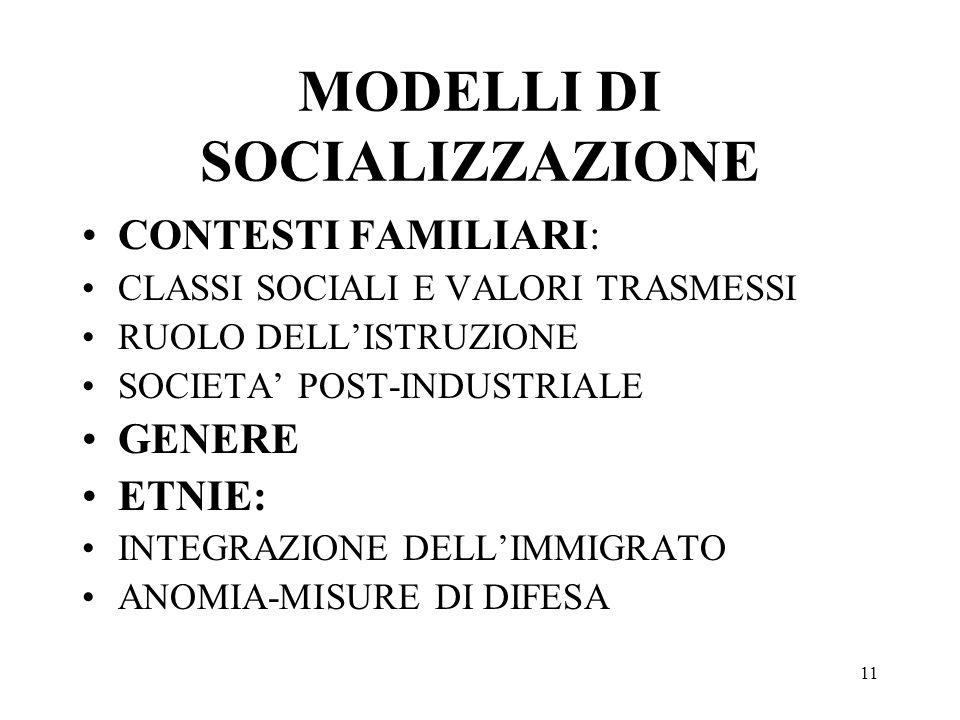 11 MODELLI DI SOCIALIZZAZIONE CONTESTI FAMILIARI: CLASSI SOCIALI E VALORI TRASMESSI RUOLO DELLISTRUZIONE SOCIETA POST-INDUSTRIALE GENERE ETNIE: INTEGR