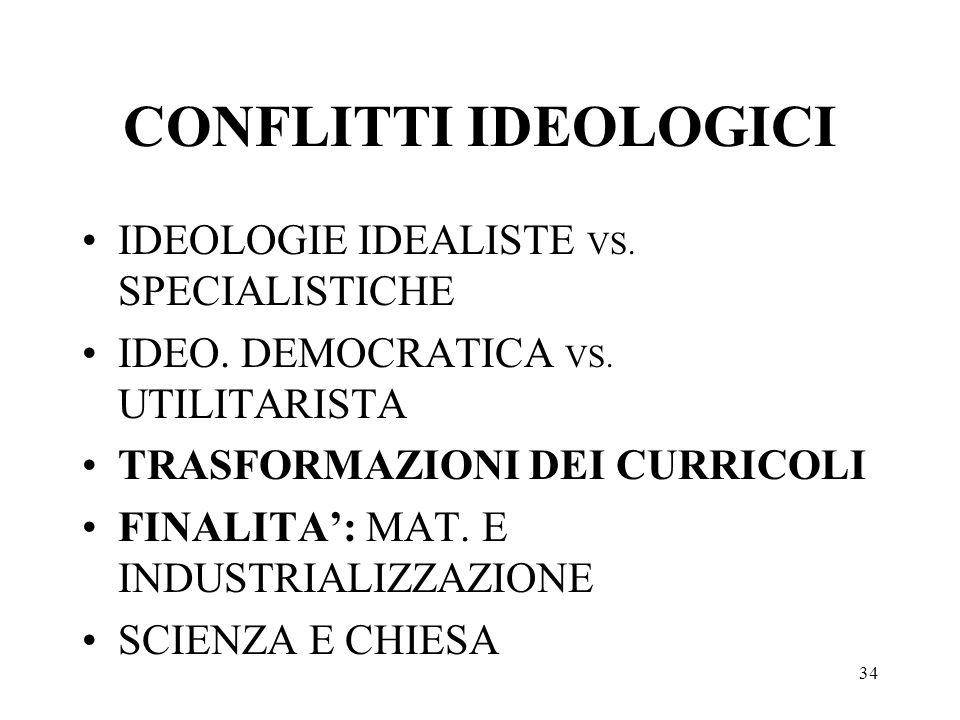 34 CONFLITTI IDEOLOGICI IDEOLOGIE IDEALISTE VS. SPECIALISTICHE IDEO. DEMOCRATICA VS. UTILITARISTA TRASFORMAZIONI DEI CURRICOLI FINALITA: MAT. E INDUST