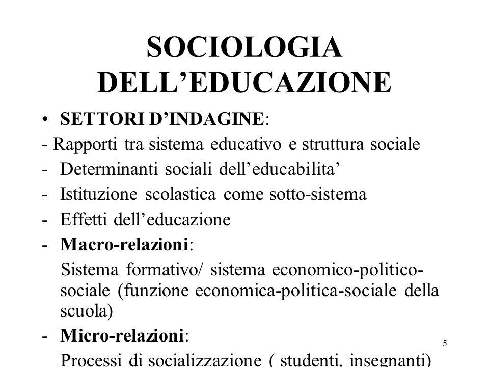 5 SOCIOLOGIA DELLEDUCAZIONE SETTORI DINDAGINE: - Rapporti tra sistema educativo e struttura sociale -Determinanti sociali delleducabilita -Istituzione