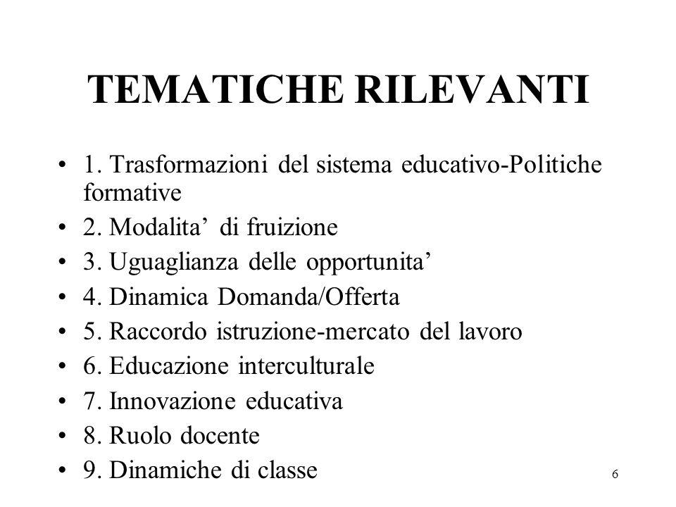 6 TEMATICHE RILEVANTI 1. Trasformazioni del sistema educativo-Politiche formative 2. Modalita di fruizione 3. Uguaglianza delle opportunita 4. Dinamic
