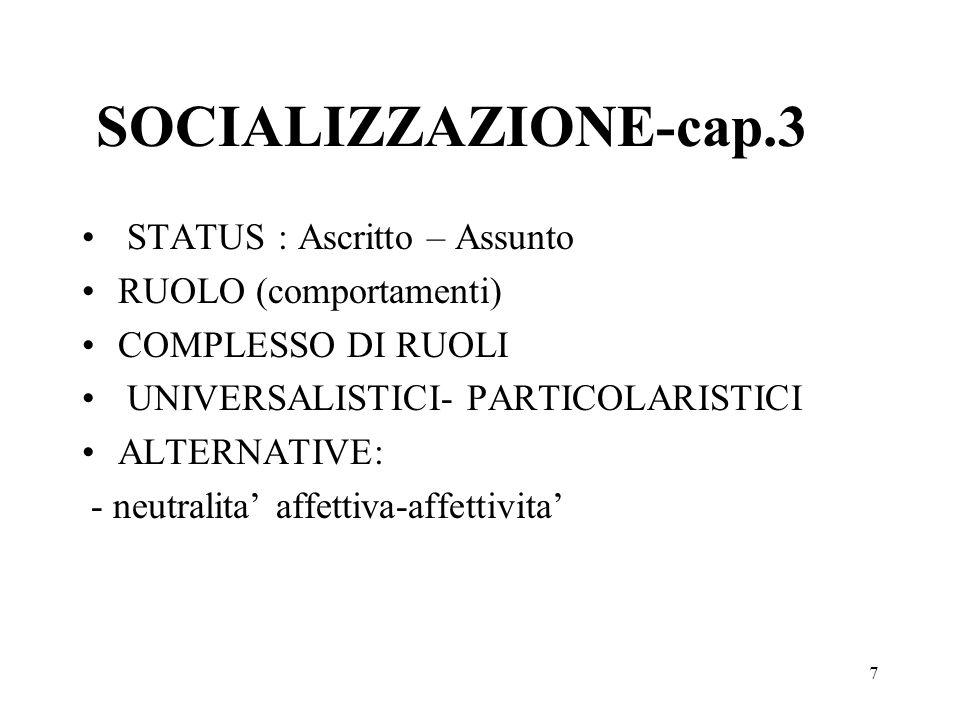 7 SOCIALIZZAZIONE-cap.3 STATUS : Ascritto – Assunto RUOLO (comportamenti) COMPLESSO DI RUOLI UNIVERSALISTICI- PARTICOLARISTICI ALTERNATIVE: - neutrali