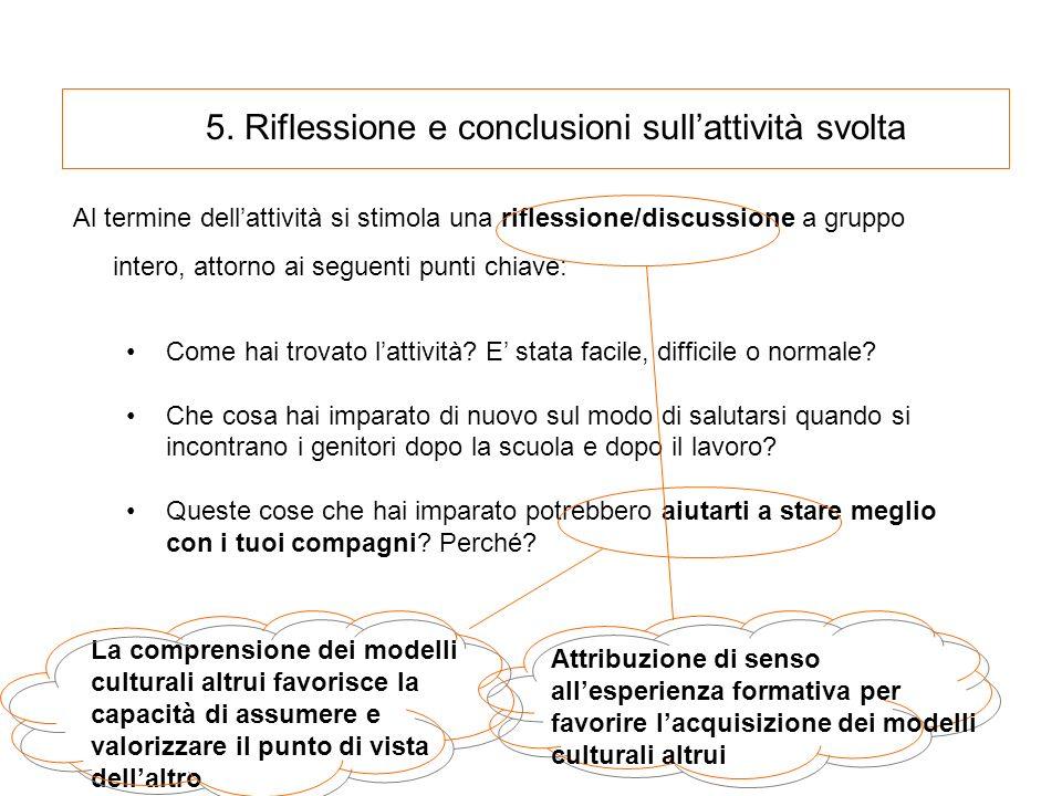 5. Riflessione e conclusioni sullattività svolta Al termine dellattività si stimola una riflessione/discussione a gruppo intero, attorno ai seguenti p