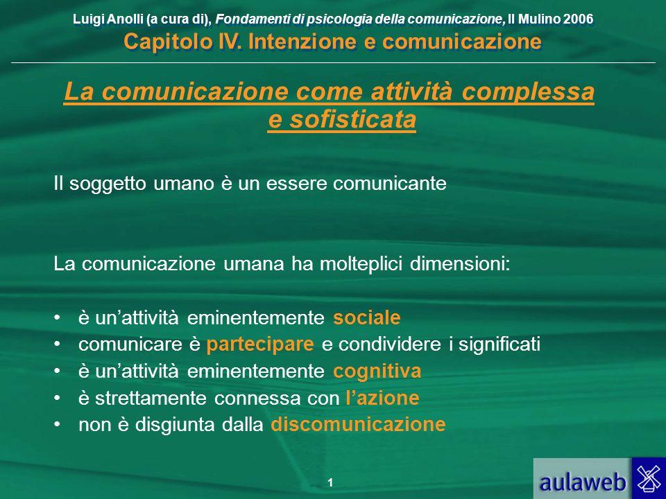 Luigi Anolli (a cura di), Fondamenti di psicologia della comunicazione, Il Mulino 2006 Capitolo IV. Intenzione e comunicazione 1 La comunicazione come