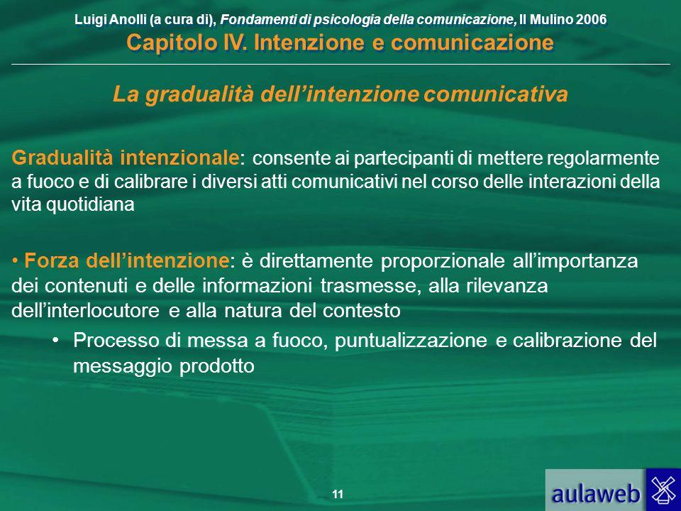 Luigi Anolli (a cura di), Fondamenti di psicologia della comunicazione, Il Mulino 2006 Capitolo IV. Intenzione e comunicazione 11 La gradualità dellin