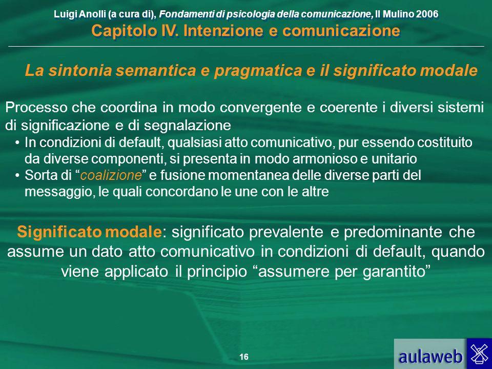 Luigi Anolli (a cura di), Fondamenti di psicologia della comunicazione, Il Mulino 2006 Capitolo IV. Intenzione e comunicazione 16 La sintonia semantic