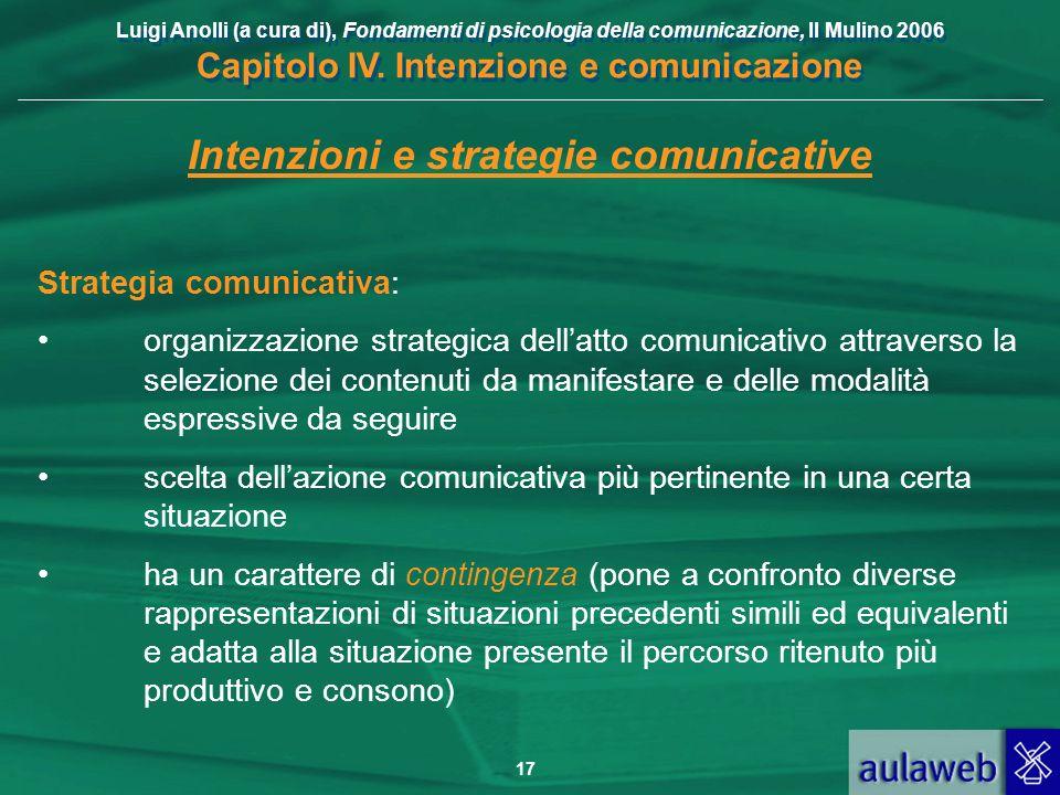 Luigi Anolli (a cura di), Fondamenti di psicologia della comunicazione, Il Mulino 2006 Capitolo IV. Intenzione e comunicazione 17 Intenzioni e strateg