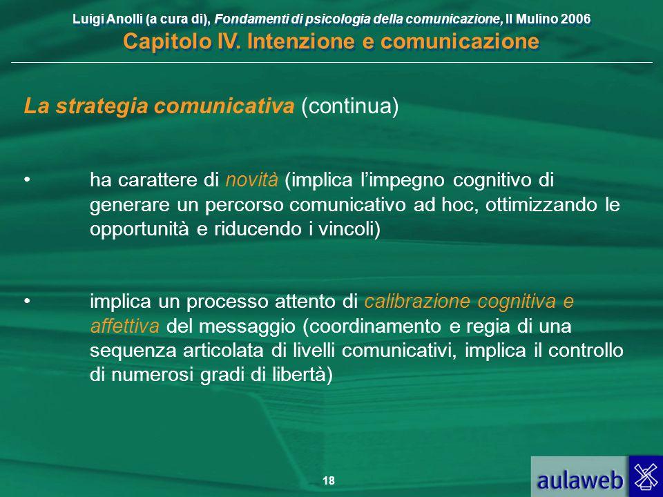 Luigi Anolli (a cura di), Fondamenti di psicologia della comunicazione, Il Mulino 2006 Capitolo IV. Intenzione e comunicazione 18 La strategia comunic