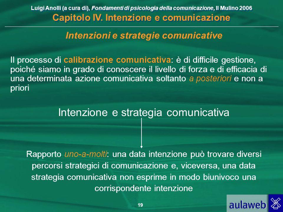 Luigi Anolli (a cura di), Fondamenti di psicologia della comunicazione, Il Mulino 2006 Capitolo IV. Intenzione e comunicazione 19 Intenzioni e strateg