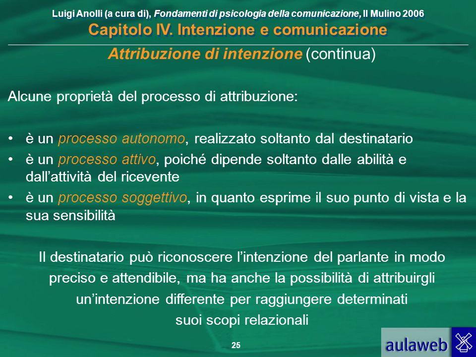 Luigi Anolli (a cura di), Fondamenti di psicologia della comunicazione, Il Mulino 2006 Capitolo IV. Intenzione e comunicazione 25 Attribuzione di inte