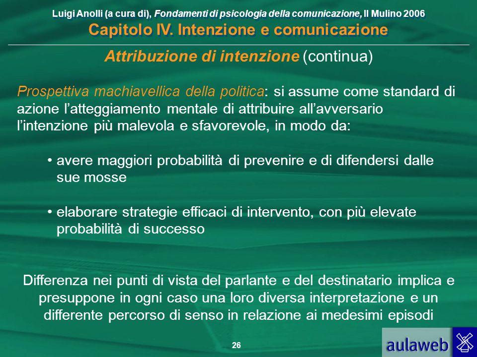 Luigi Anolli (a cura di), Fondamenti di psicologia della comunicazione, Il Mulino 2006 Capitolo IV. Intenzione e comunicazione 26 Attribuzione di inte