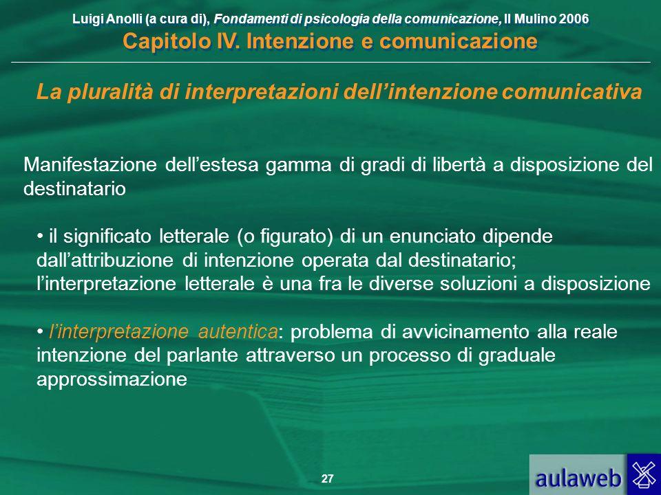 Luigi Anolli (a cura di), Fondamenti di psicologia della comunicazione, Il Mulino 2006 Capitolo IV. Intenzione e comunicazione 27 La pluralità di inte