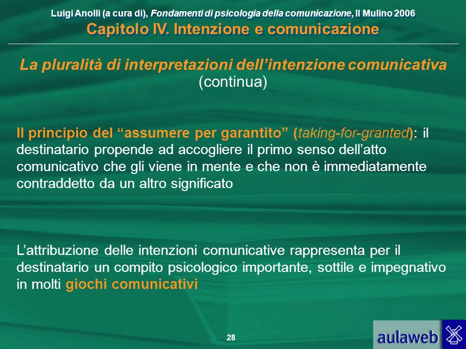 Luigi Anolli (a cura di), Fondamenti di psicologia della comunicazione, Il Mulino 2006 Capitolo IV. Intenzione e comunicazione 28 La pluralità di inte