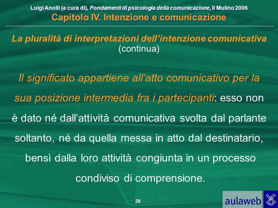 Luigi Anolli (a cura di), Fondamenti di psicologia della comunicazione, Il Mulino 2006 Capitolo IV. Intenzione e comunicazione 29 La pluralità di inte