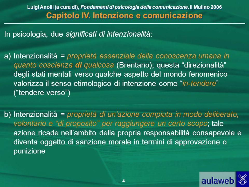 Luigi Anolli (a cura di), Fondamenti di psicologia della comunicazione, Il Mulino 2006 Capitolo IV. Intenzione e comunicazione 4 In psicologia, due si