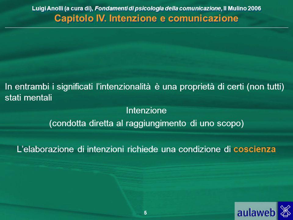 Luigi Anolli (a cura di), Fondamenti di psicologia della comunicazione, Il Mulino 2006 Capitolo IV. Intenzione e comunicazione 5 In entrambi i signifi