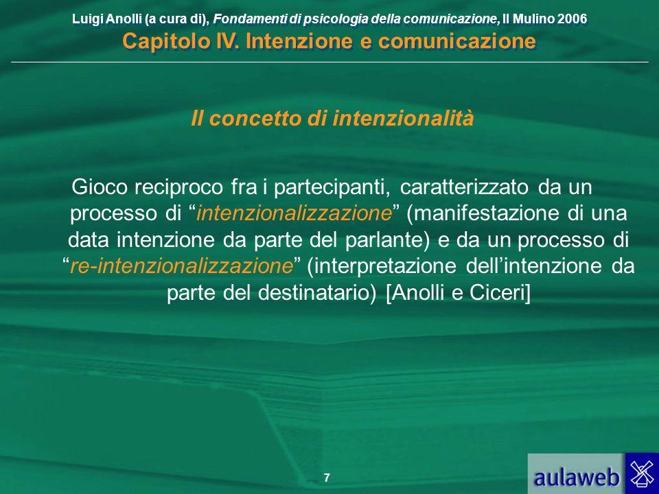 Luigi Anolli (a cura di), Fondamenti di psicologia della comunicazione, Il Mulino 2006 Capitolo IV. Intenzione e comunicazione 7 Il concetto di intenz
