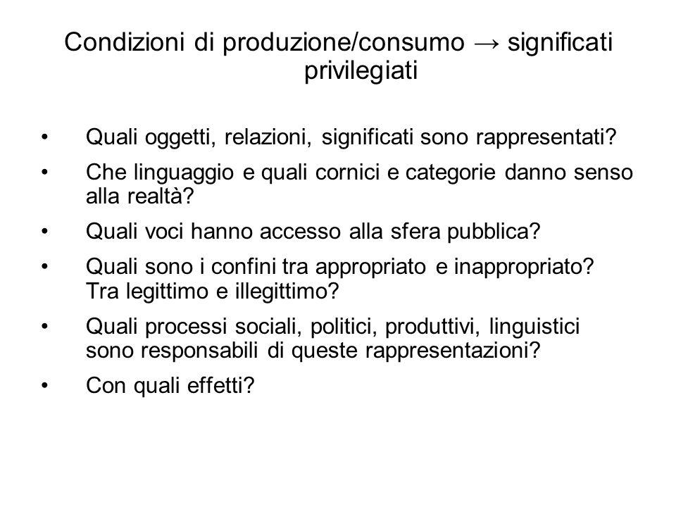 Condizioni di produzione/consumo significati privilegiati Quali oggetti, relazioni, significati sono rappresentati.
