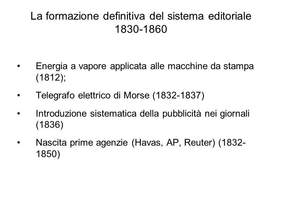 La formazione definitiva del sistema editoriale 1830-1860 Energia a vapore applicata alle macchine da stampa (1812); Telegrafo elettrico di Morse (1832-1837) Introduzione sistematica della pubblicità nei giornali (1836) Nascita prime agenzie (Havas, AP, Reuter) (1832- 1850)