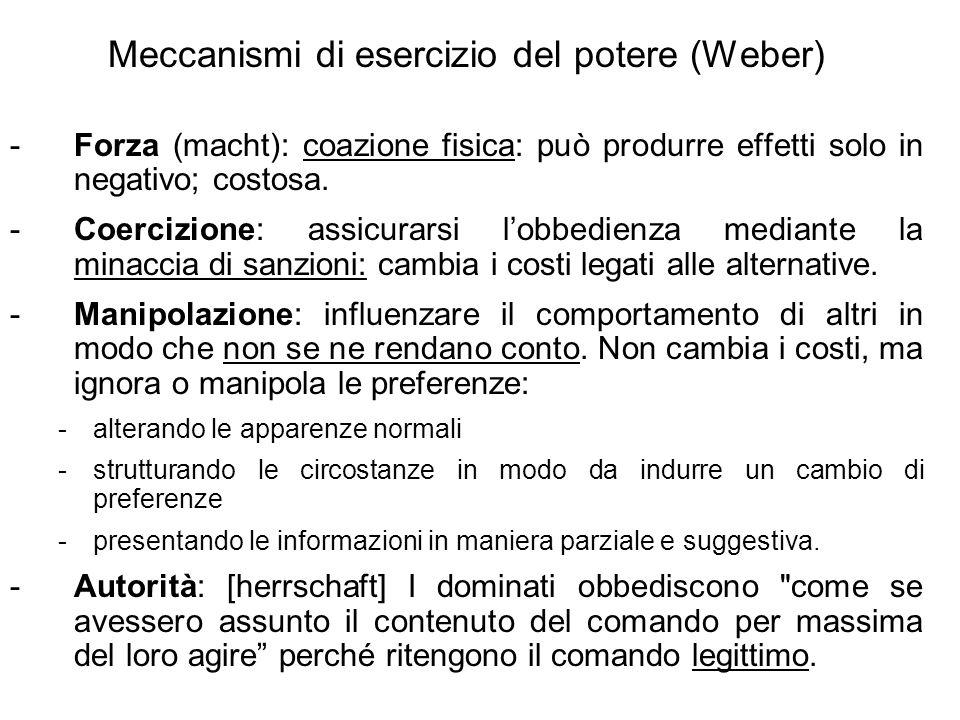 Meccanismi di esercizio del potere (Weber) -Forza (macht): coazione fisica: può produrre effetti solo in negativo; costosa.