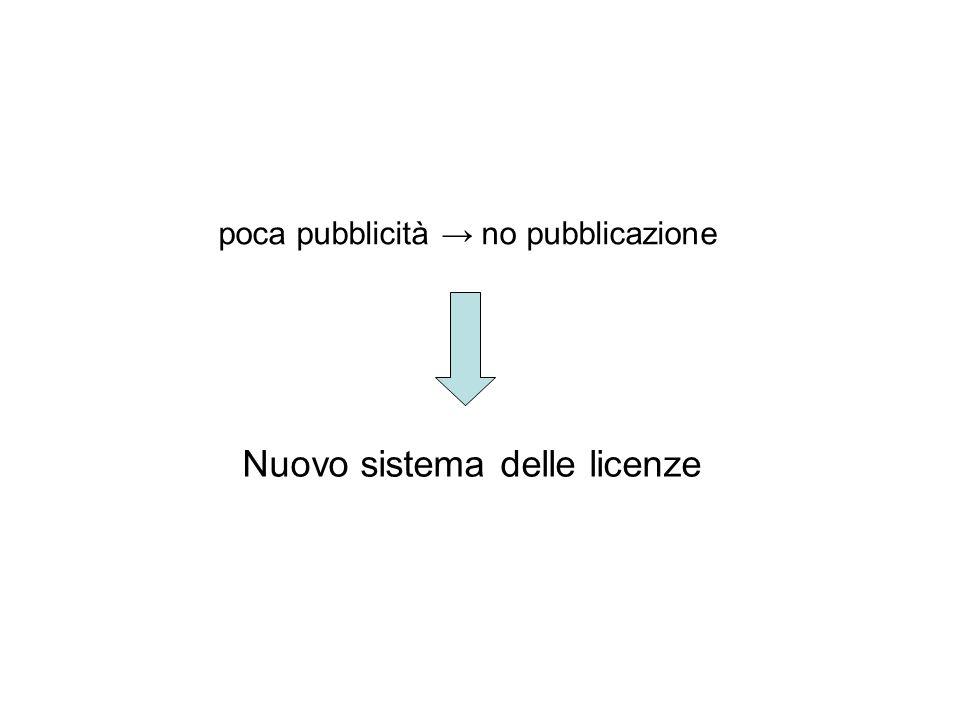 poca pubblicità no pubblicazione Nuovo sistema delle licenze