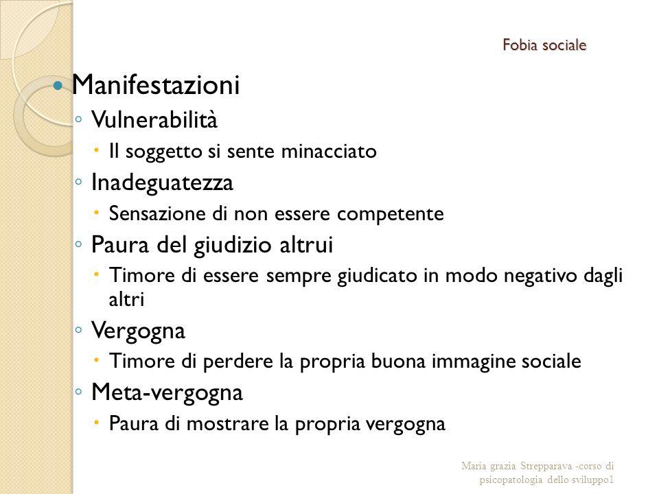 Fobia sociale Manifestazioni Vulnerabilità Il soggetto si sente minacciato Inadeguatezza Sensazione di non essere competente Paura del giudizio altrui