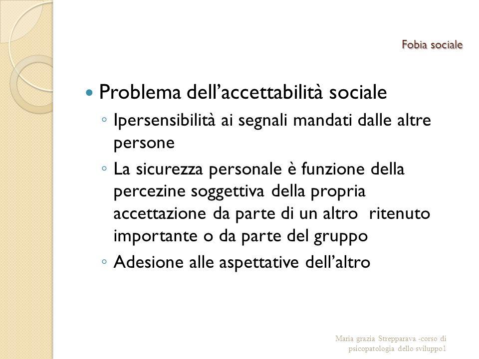 Fobia sociale Problema dellaccettabilità sociale Ipersensibilità ai segnali mandati dalle altre persone La sicurezza personale è funzione della percez