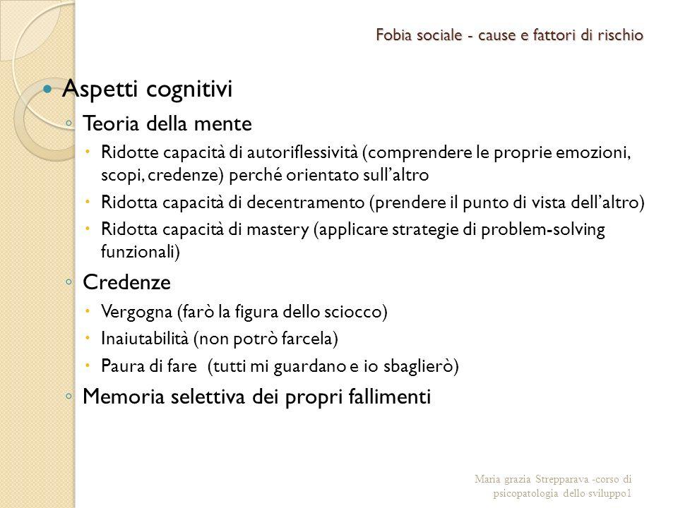 Fobia sociale - cause e fattori di rischio Aspetti cognitivi Teoria della mente Ridotte capacità di autoriflessività (comprendere le proprie emozioni,