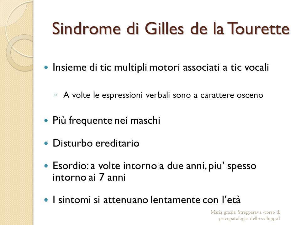 Sindrome di Gilles de la Tourette Insieme di tic multipli motori associati a tic vocali A volte le espressioni verbali sono a carattere osceno Più fre