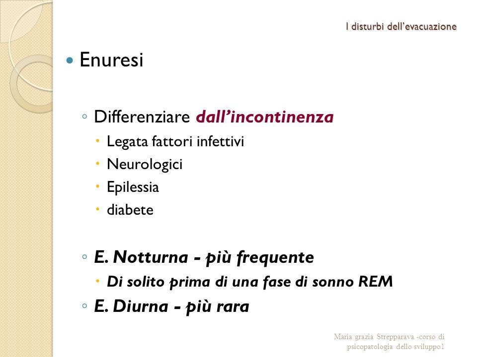 I disturbi dellevacuazione Enuresi Differenziare dallincontinenza Legata fattori infettivi Neurologici Epilessia diabete E. Notturna - più frequente D