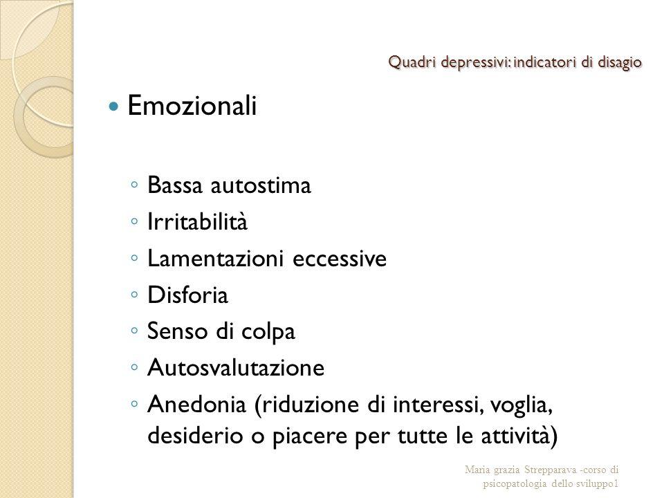 Quadri depressivi: indicatori di disagio Emozionali Bassa autostima Irritabilità Lamentazioni eccessive Disforia Senso di colpa Autosvalutazione Anedo