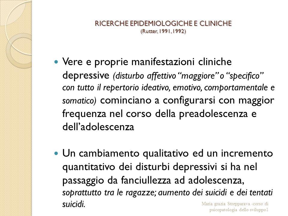 RICERCHE EPIDEMIOLOGICHE E CLINICHE (Rutter, 1991, 1992) Vere e proprie manifestazioni cliniche depressive (disturbo affettivo maggiore o specifico co