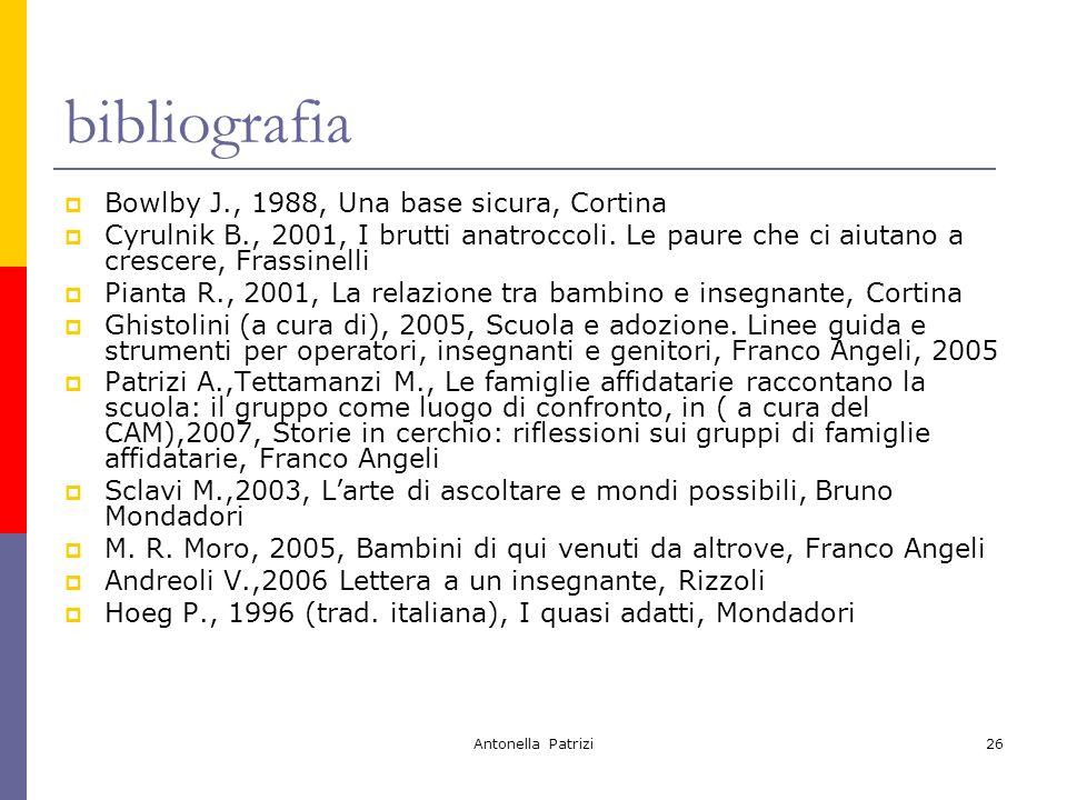 Antonella Patrizi26 bibliografia Bowlby J., 1988, Una base sicura, Cortina Cyrulnik B., 2001, I brutti anatroccoli.