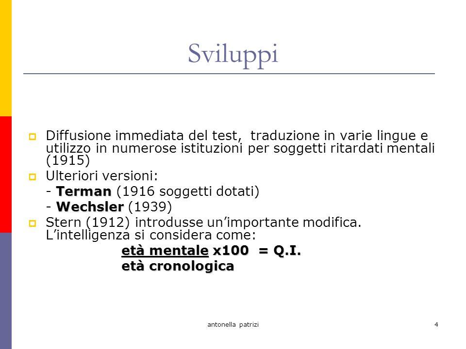 antonella patrizi5 Test dintelligenza Tutti i test dintelligenza si fondano su: un insieme di artefatti culturali contenuti percettivi cognitivi linguistici SPECIFICI DI OGNI CULTURA