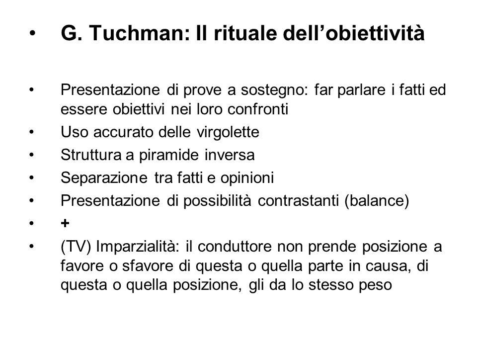 G. Tuchman: Il rituale dellobiettività Presentazione di prove a sostegno: far parlare i fatti ed essere obiettivi nei loro confronti Uso accurato dell