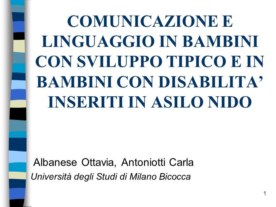 1 COMUNICAZIONE E LINGUAGGIO IN BAMBINI CON SVILUPPO TIPICO E IN BAMBINI CON DISABILITA INSERITI IN ASILO NIDO Albanese Ottavia, Antoniotti Carla Univ