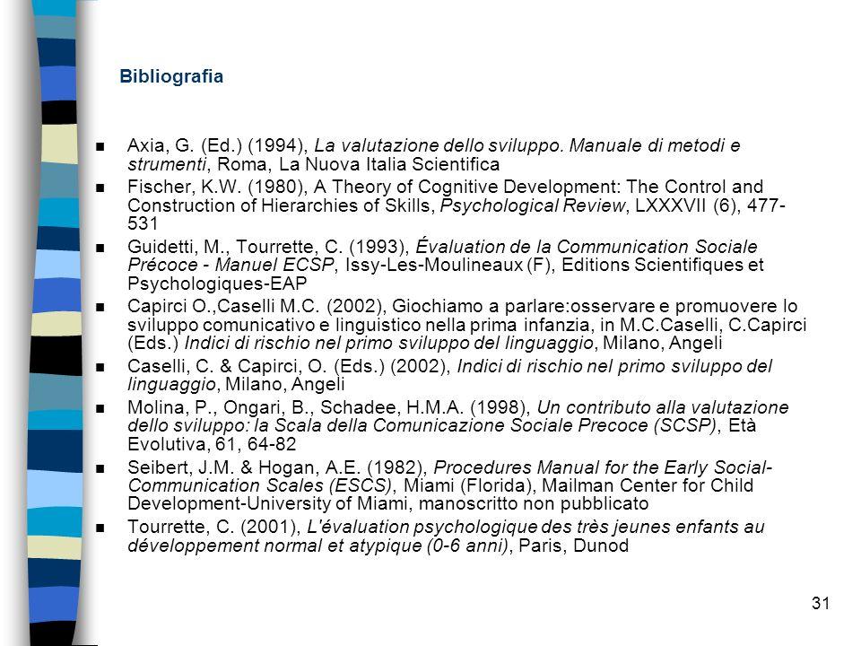 31 Bibliografia n Axia, G. (Ed.) (1994), La valutazione dello sviluppo. Manuale di metodi e strumenti, Roma, La Nuova Italia Scientifica n Fischer, K.
