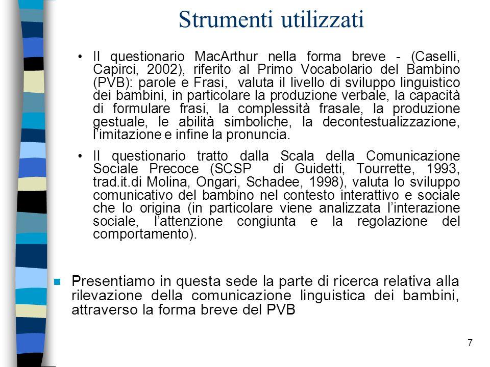 7 Strumenti utilizzati Il questionario MacArthur nella forma breve - (Caselli, Capirci, 2002), riferito al Primo Vocabolario del Bambino (PVB): parole
