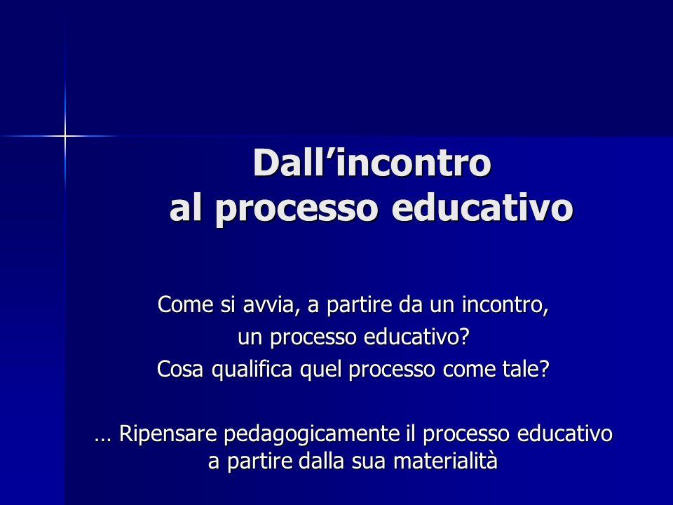 Dallincontro al processo educativo Come si avvia, a partire da un incontro, un processo educativo? Cosa qualifica quel processo come tale? … Ripensare