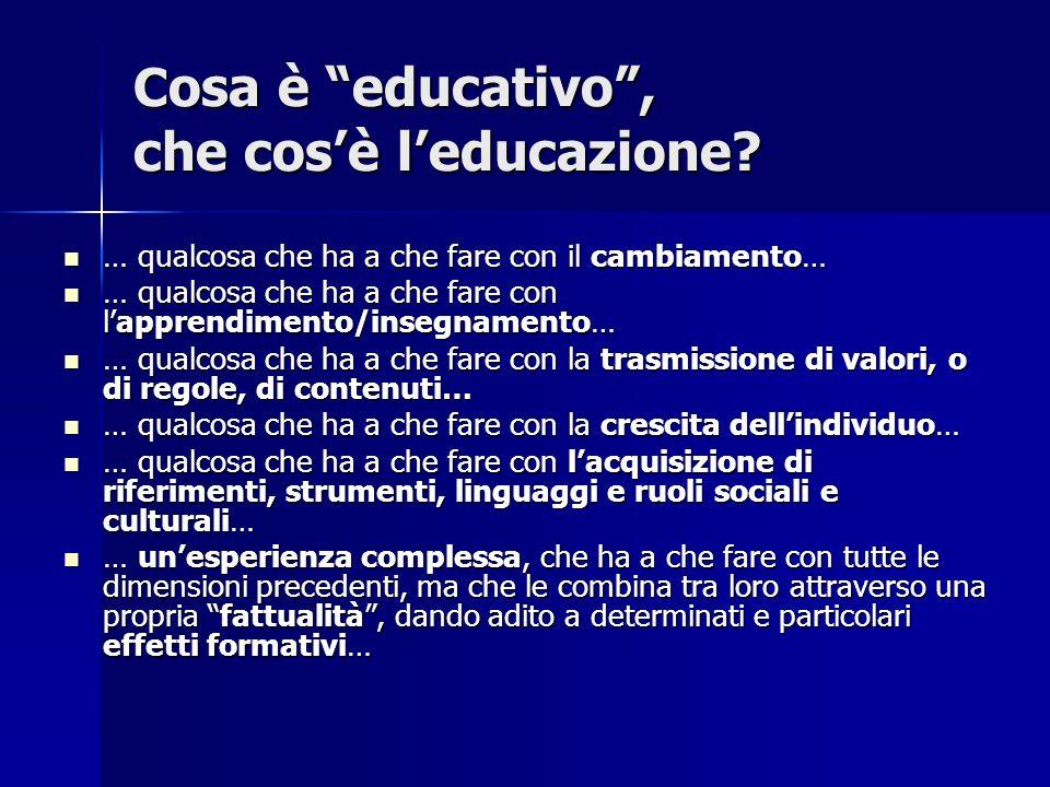 C osa è educativo, che cosè leducazione? … qualcosa che ha a che fare con il cambiamento… … qualcosa che ha a che fare con il cambiamento… … qualcosa
