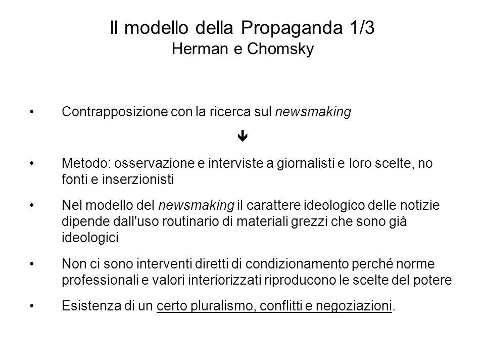 Il modello della Propaganda 1/3 Herman e Chomsky Contrapposizione con la ricerca sul newsmaking Metodo: osservazione e interviste a giornalisti e loro