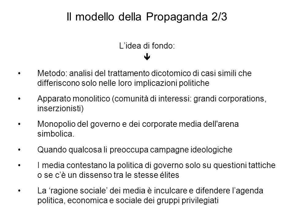 Il modello della Propaganda 2/3 Lidea di fondo: Metodo: analisi del trattamento dicotomico di casi simili che differiscono solo nelle loro implicazion