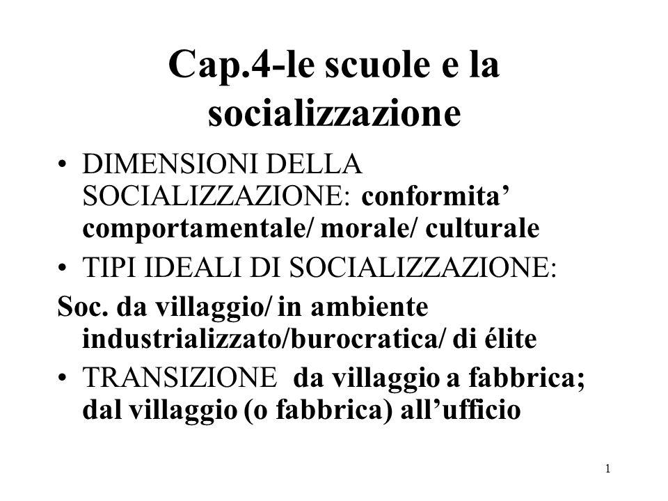 1 Cap.4-le scuole e la socializzazione DIMENSIONI DELLA SOCIALIZZAZIONE: conformita comportamentale/ morale/ culturale TIPI IDEALI DI SOCIALIZZAZIONE: