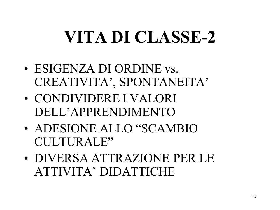 10 VITA DI CLASSE-2 ESIGENZA DI ORDINE vs.