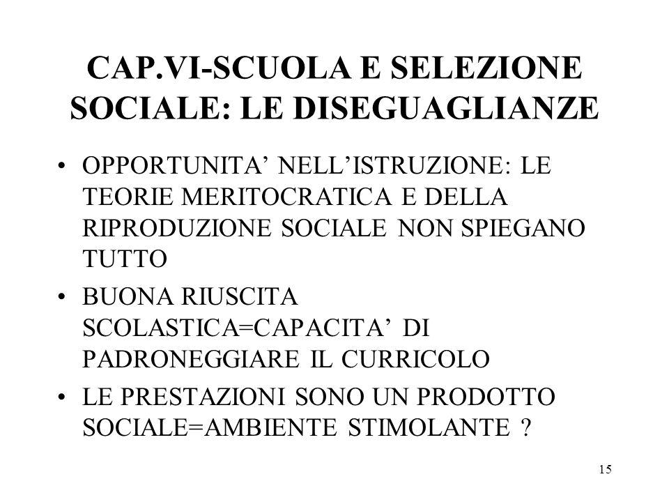 15 CAP.VI-SCUOLA E SELEZIONE SOCIALE: LE DISEGUAGLIANZE OPPORTUNITA NELLISTRUZIONE: LE TEORIE MERITOCRATICA E DELLA RIPRODUZIONE SOCIALE NON SPIEGANO TUTTO BUONA RIUSCITA SCOLASTICA=CAPACITA DI PADRONEGGIARE IL CURRICOLO LE PRESTAZIONI SONO UN PRODOTTO SOCIALE=AMBIENTE STIMOLANTE ?
