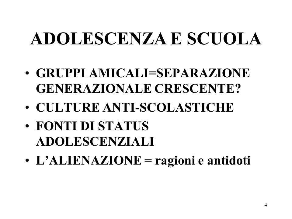 4 ADOLESCENZA E SCUOLA GRUPPI AMICALI=SEPARAZIONE GENERAZIONALE CRESCENTE? CULTURE ANTI-SCOLASTICHE FONTI DI STATUS ADOLESCENZIALI LALIENAZIONE = ragi