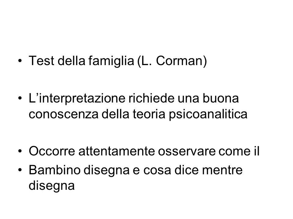 Test della famiglia (L. Corman) Linterpretazione richiede una buona conoscenza della teoria psicoanalitica Occorre attentamente osservare come il Bamb