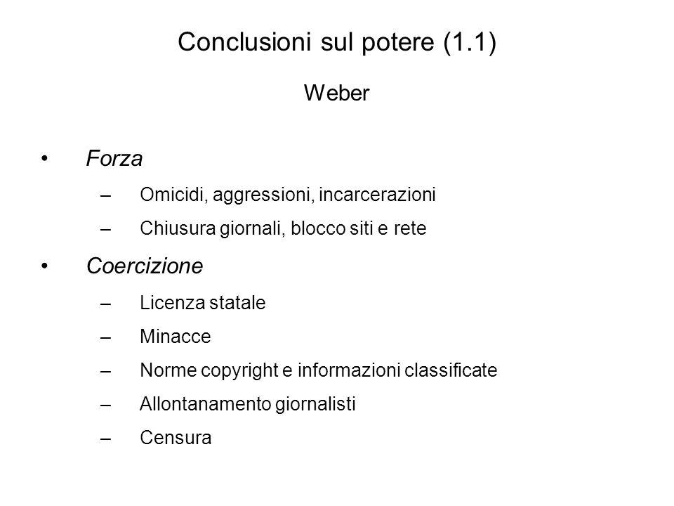 Conclusioni sul potere (1.1) Weber Forza –Omicidi, aggressioni, incarcerazioni –Chiusura giornali, blocco siti e rete Coercizione –Licenza statale –Minacce –Norme copyright e informazioni classificate –Allontanamento giornalisti –Censura